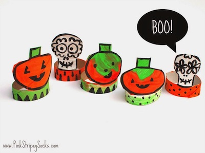 toilet rolls pumpkins and skulls