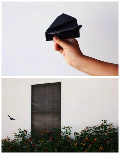 folded flying bat Halloween craft