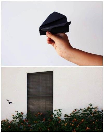 folded flying bat Halloween craft