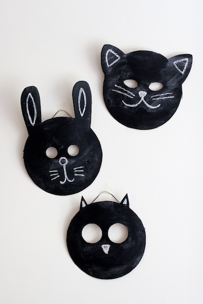 chalkboard paint and cardboard masks DIY