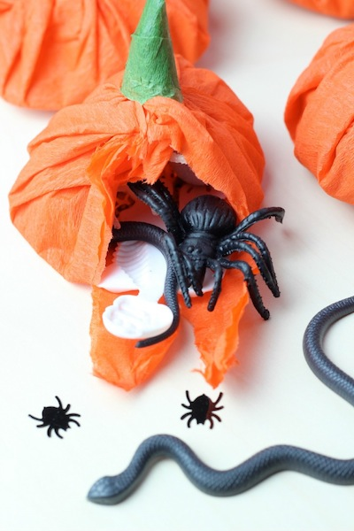 crepe paper pumpkin treats