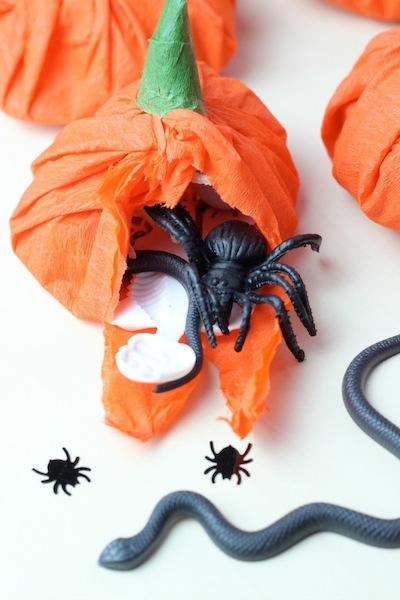crepe paper pumpkin treats