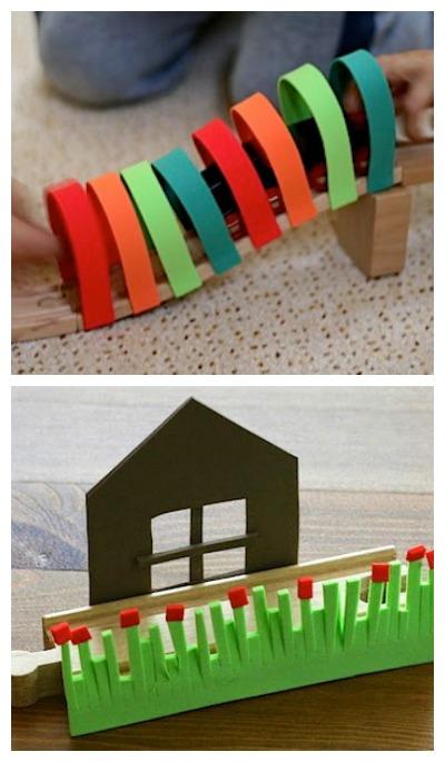 add craft foam details to toy railroad tracks