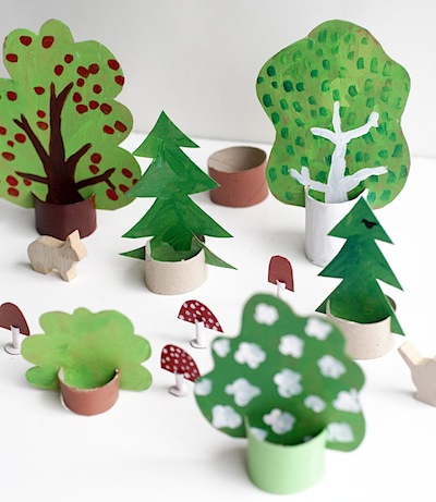 trees and forest details made from cardboard and toilet paper rolls