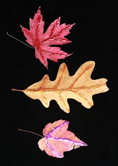 glitter leaves fall craft for kids