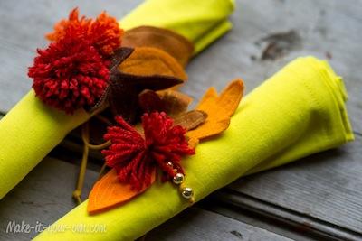 traced leaves napkin ties rings