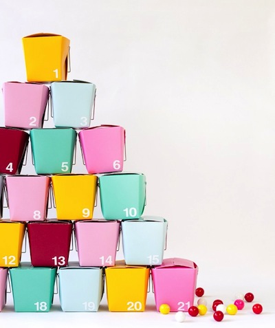 DIY advent calendar made with take out boxes