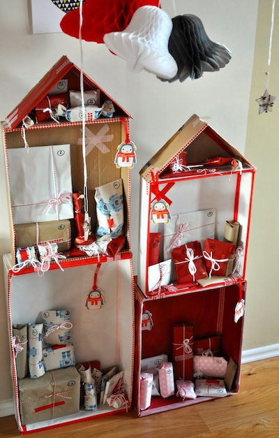 cardboard house and little gifts homemade advent calendar