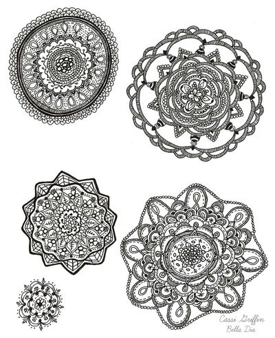 Bella Dia hand drawn mandalas by Cassi Griffin