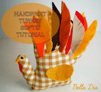 Bella Dia turkey handprint softie tutorial DIY badge