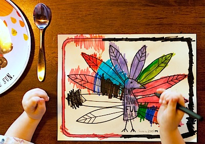 kids Thanksgiving placemat to color free printable
