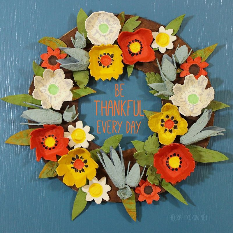 The Crafty Crow Fall Egg Carton Wreath Be Thankful Every Day Copy