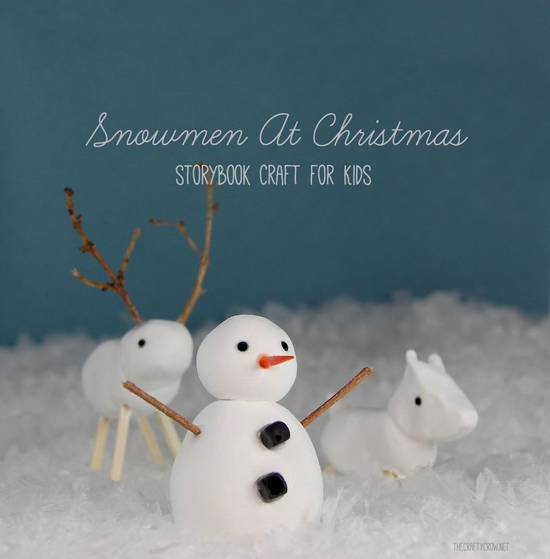 The Crafty Crow Christmas Book and Craft Advent Snowmen at Christmas clay snow characters craft