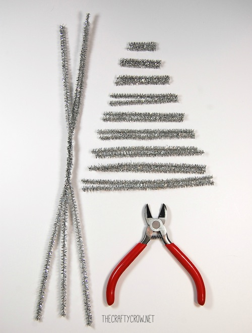 The Crafty Crow tinsel tree tutorial materials