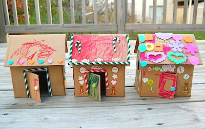 Ikat Bag cardboard gingerbread houses