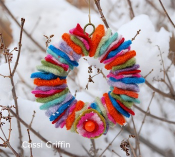 Bella Dia Christmas Book and Craft Advent felted wool sweater wreath ornament tutorial