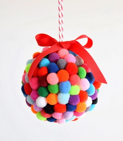 pompom ornament ball tutorial