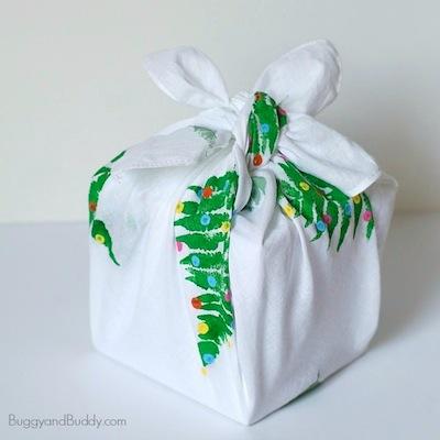 fabric gift wrap DIY