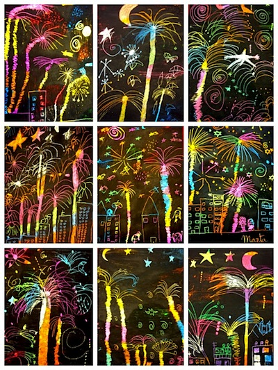 fireworks scratch art for New Year's Eve ideas for kids