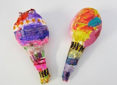 paper mache maracas with kindergarteners
