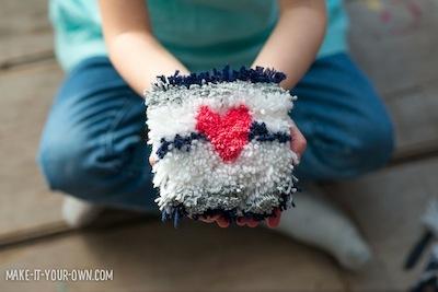 Valentine's Day craft yarn heart wall hanging