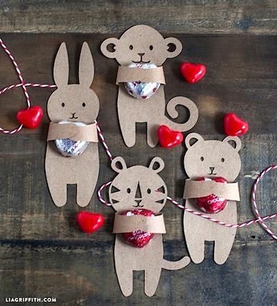 kids Valentine's candy huggers treat holders
