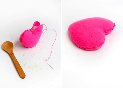 DIY cozy felted wool sweater heart hand warmers Valentine's Day craft