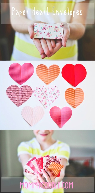 folded paper heart Valentines