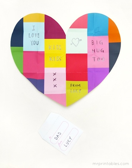 printable valentine card colorful patchwork pattern