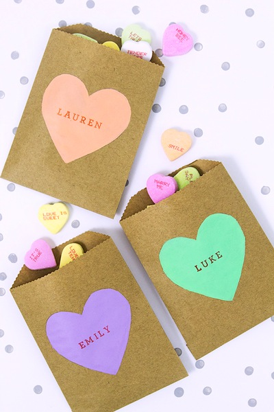 conversation heart treat bags