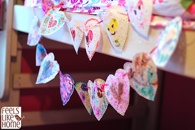painted heart doily garland kids Valentine craft