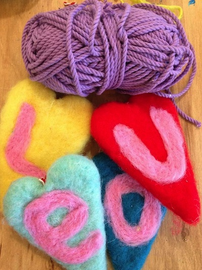needle felted heart banner for Valentine's Day decorations