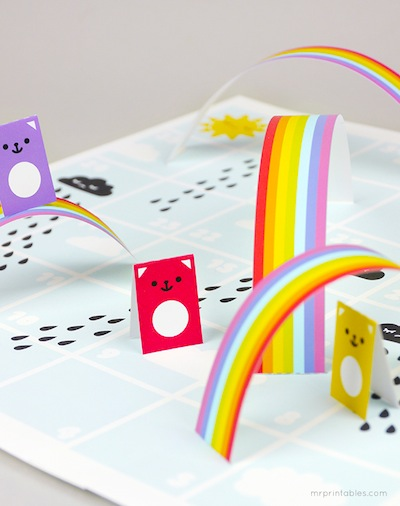 rain and rainbows free printable board game for kids