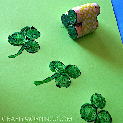 Crafty Morning cork shamrock prints for St. Patrick's Day
