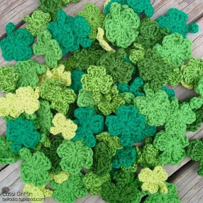 Bella Dia 100 crocheted shamrocks for St. Patrick's Day