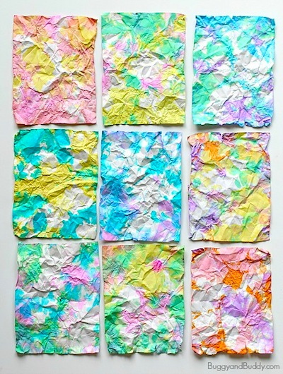 crumpled paper art for kids