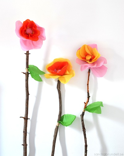 giant paper flowers with stick stems