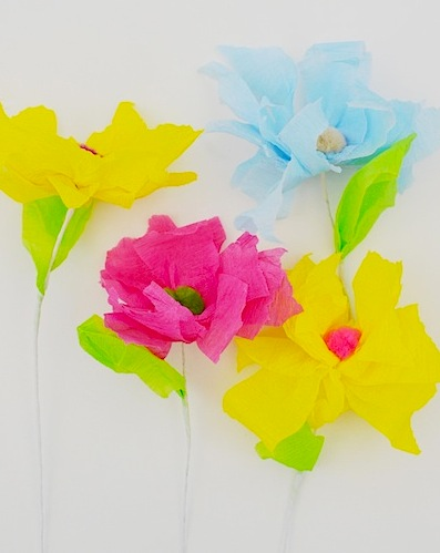crepe paper and pompom flower crafts