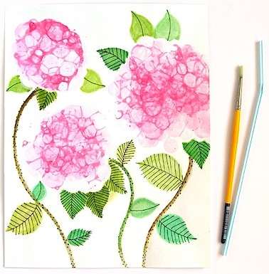 bubble paint hydrangea art