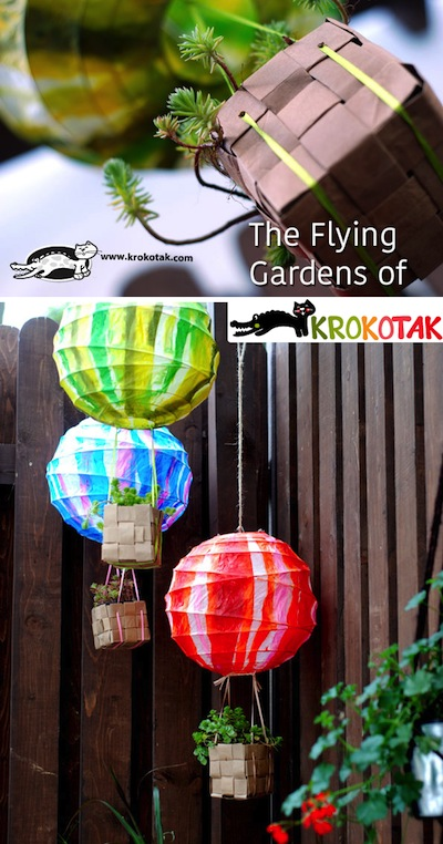 flying balloon gardens made from paper lanterns