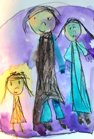 kid made family portraits for Mother's Day