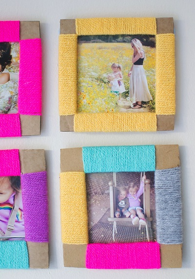 cardboard and yarn photo frame Mother's Day DIY