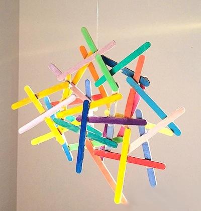 watercolor popsicle stick sculpture