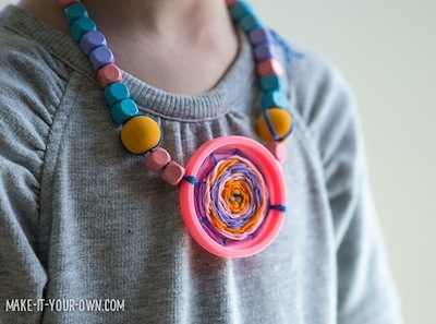 recycled woven lid necklaces