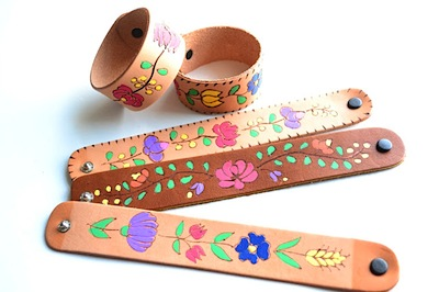 folk art painted leather bracelet