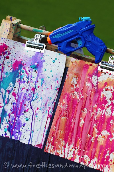 Squirt Gun Paintings Summer Craft Art For Kids
