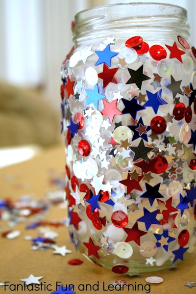 sparkly patriotic jar candle holder craft for kids