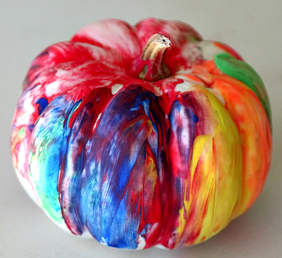 finger painted pumpkin Halloween craft