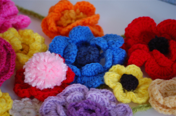 crocheted flower garland close up
