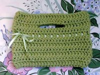 spring green crocheted tote